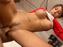 Baseball Player Spreads Her Thighs And Receives A Big Dick Between Her Pussy Lips