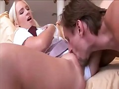 Blonde Schoolgirl Rubs And Gets Her Wet Pussy Licked Before Sucking And Fucking Big Cock