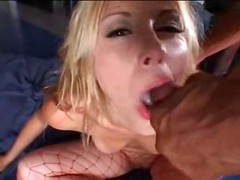 White Bitch In Red Fishnets Starring In Gangbang Porno With Three Black Guys
