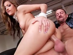 Glamour And Delicious Pornstar Getting Fucked In All Holes On The Black Leather Couch