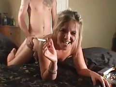 Amateur Blonde Smoking A Cigarette While Getting Fucked